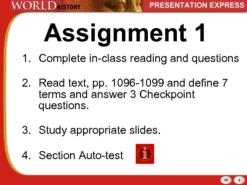 Assignment 1 1. Complete in-class reading and questions 2. Read text, pp. 1096 -1099