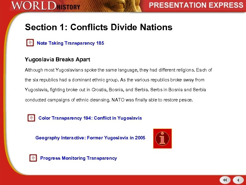 Section 1: Conflicts Divide Nations Note Taking Transparency 185 Yugoslavia Breaks Apart Although most