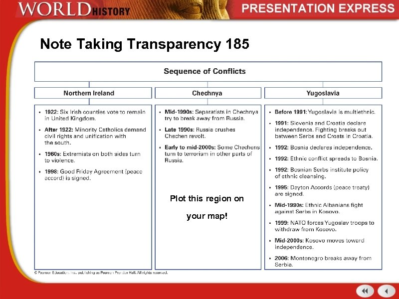 Note Taking Transparency 185 Plot this region on your map!