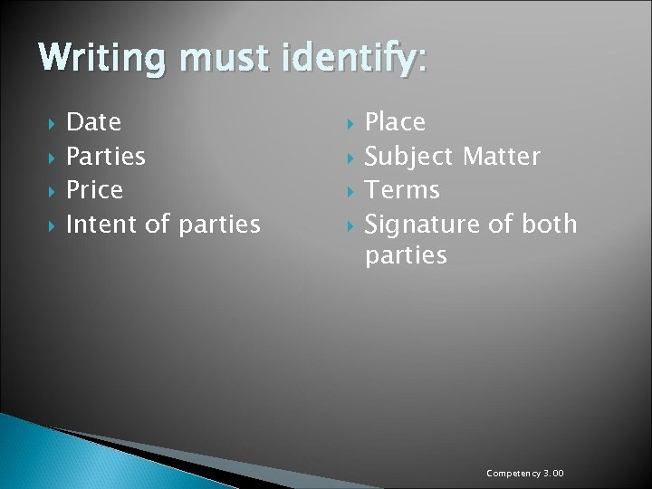 Writing must identify: Date Parties Price Intent of parties Place Subject Matter Terms Signature