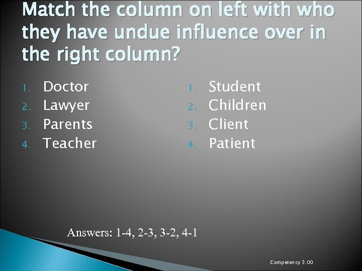 Match the column on left with who they have undue influence over in the