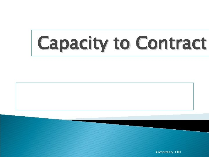 Capacity to Contract Competency 3. 00