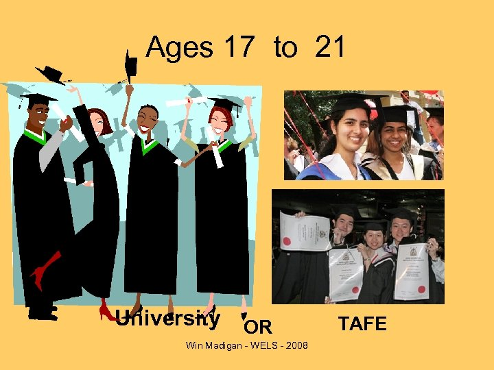 Ages 17 to 21 University OR Win Madigan - WELS - 2008 TAFE