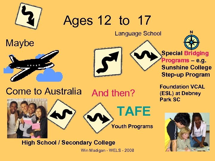 Ages 12 to 17 Language School Maybe Special Bridging Programs – e. g. Sunshine
