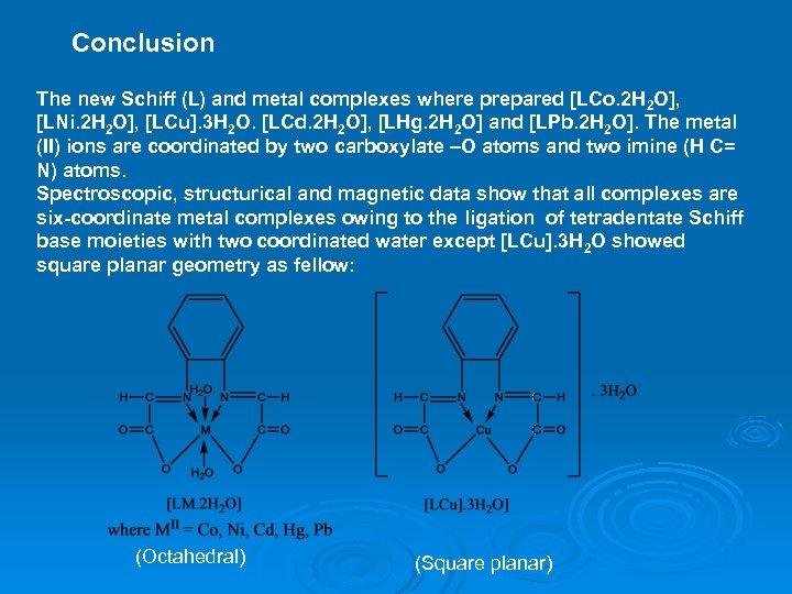 Conclusion The new Schiff (L) and metal complexes where prepared [LCo. 2 H 2