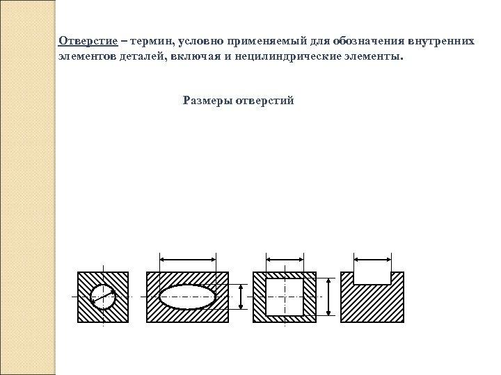 Отверстие – термин, условно применяемый для обозначения внутренних элементов деталей, включая и нецилиндрические элементы.