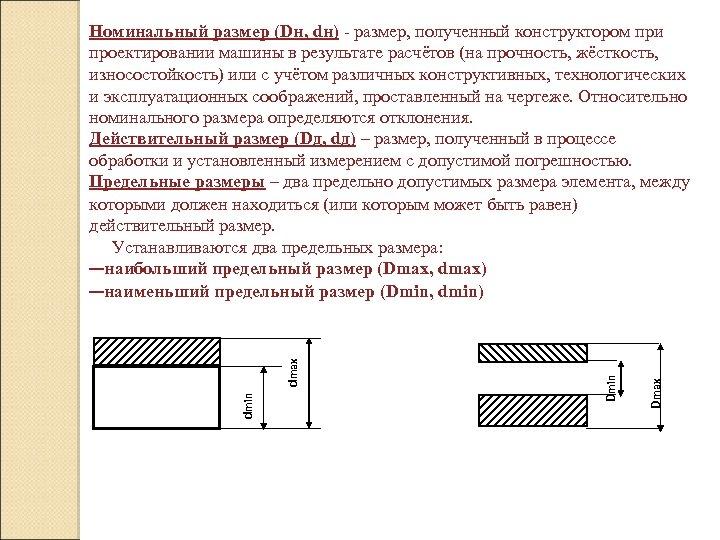 Dmax Dmin dmax Номинальный размер (Dн, dн) - размер, полученный конструктором при проектировании машины