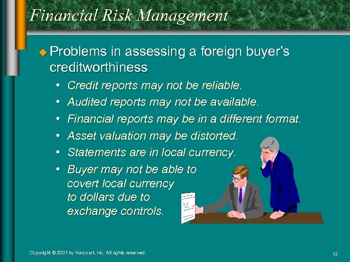 Financial Risk Management u Problems in assessing a foreign buyer's creditworthiness • • •