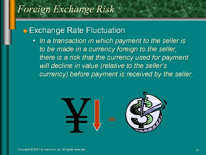 Foreign Exchange Risk u Exchange Rate Fluctuation • In a transaction in which payment