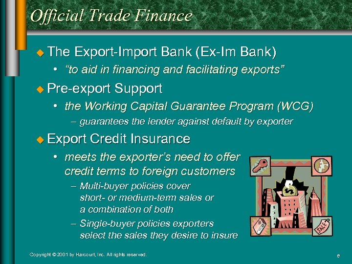 """Official Trade Finance u The Export-Import Bank (Ex-Im Bank) • """"to aid in financing"""
