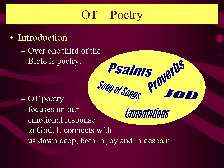 OT – Poetry • Introduction – Over one third of the Bible is poetry.