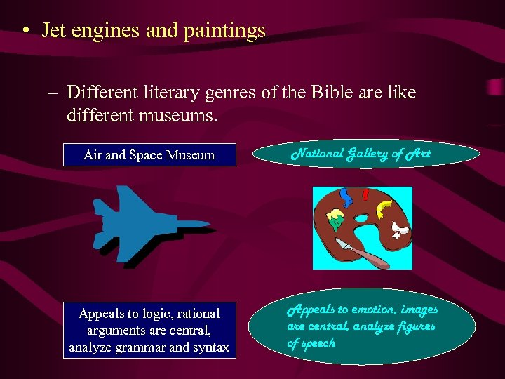 • Jet engines and paintings – Different literary genres of the Bible are