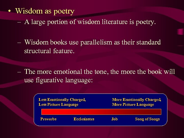 • Wisdom as poetry – A large portion of wisdom literature is poetry.