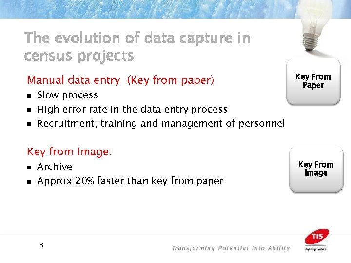 The evolution of data capture in census projects Manual data entry (Key from paper)