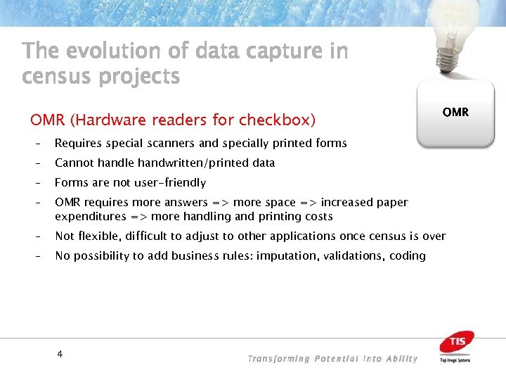 The evolution of data capture in census projects OMR (Hardware readers for checkbox) OMR