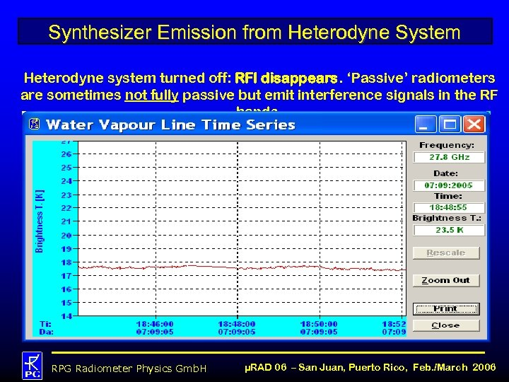Synthesizer Emission from Heterodyne System Heterodyne system turned off: RFI disappears. 'Passive' radiometers are