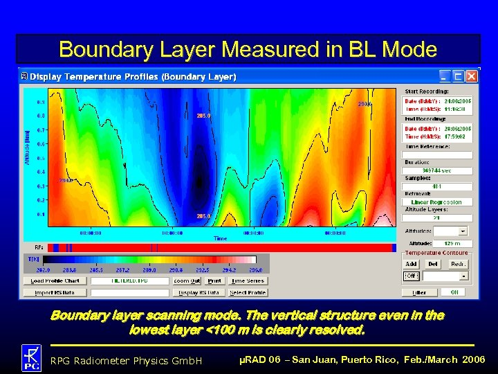 Boundary Layer Measured in BL Mode Boundary layer scanning mode. The vertical structure even
