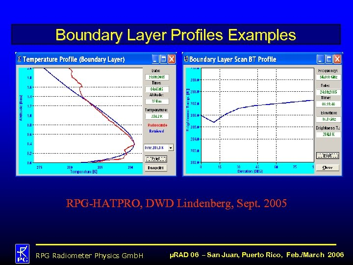 Boundary Layer Profiles Examples RPG-HATPRO, DWD Lindenberg, Sept. 2005 RPG Radiometer Physics Gmb. H