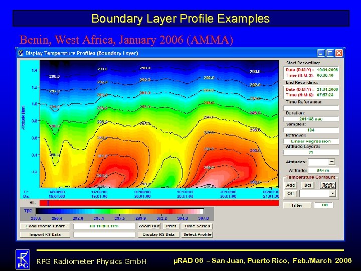 Boundary Layer Profile Examples Benin, West Africa, January 2006 (AMMA) RPG Radiometer Physics Gmb.