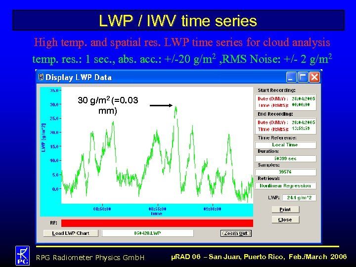 LWP / IWV time series High temp. and spatial res. LWP time series for