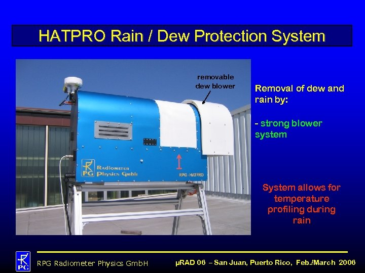 HATPRO Rain / Dew Protection System removable dew blower Removal of dew and rain
