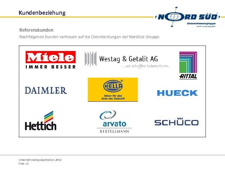 Kundenbeziehung Referenzkunden Nachfolgende Kunden vertrauen auf die Dienstleistungen der Nord. Süd Gruppe: Unternehmenspräsentation 2010