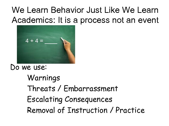 We Learn Behavior Just Like We Learn Academics: It is a process not an