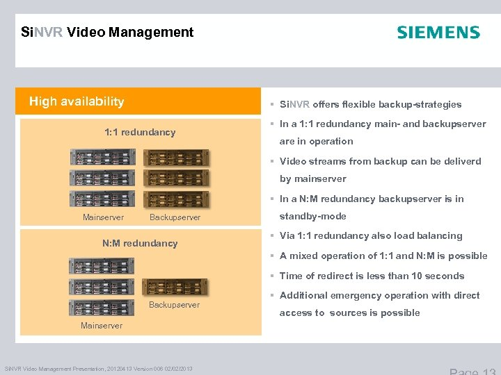 Si. NVR Video Management High availability § Si. NVR offers flexible backup-strategies 1: 1