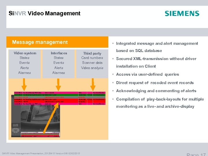 Si. NVR Video Management Message management Video system States Events Alerts Alarmes Interfaces States