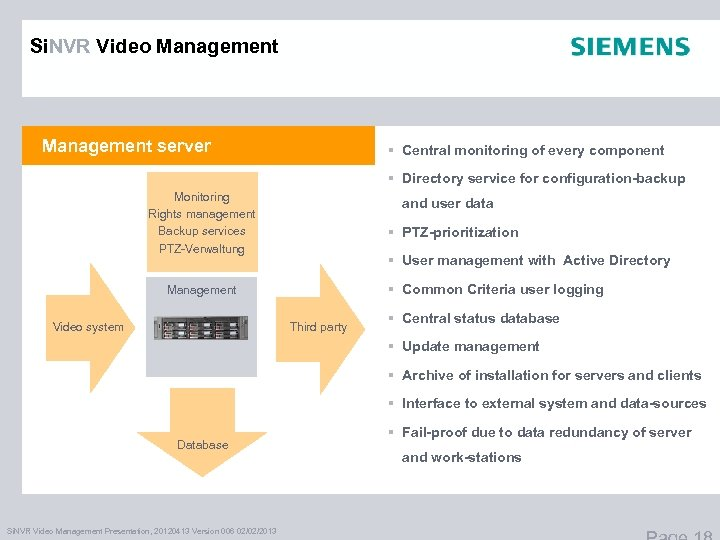 Si. NVR Video Management server § Central monitoring of every component § Directory service