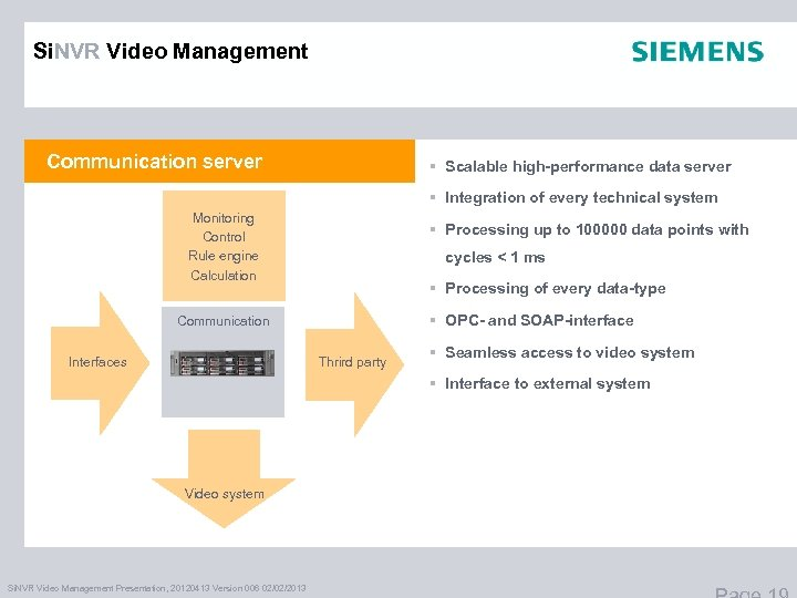 Si. NVR Video Management Communication server § Scalable high-performance data server § Integration of