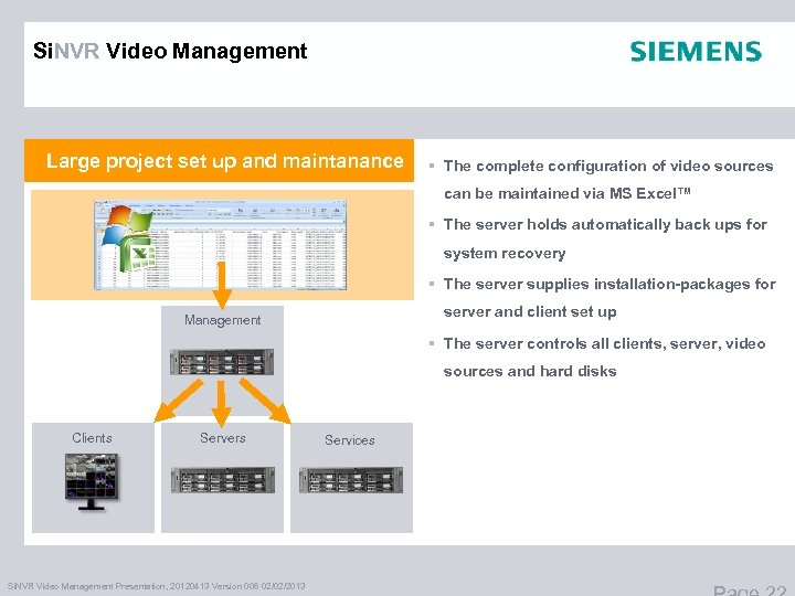 Si. NVR Video Management Large project set up and maintanance § The complete configuration
