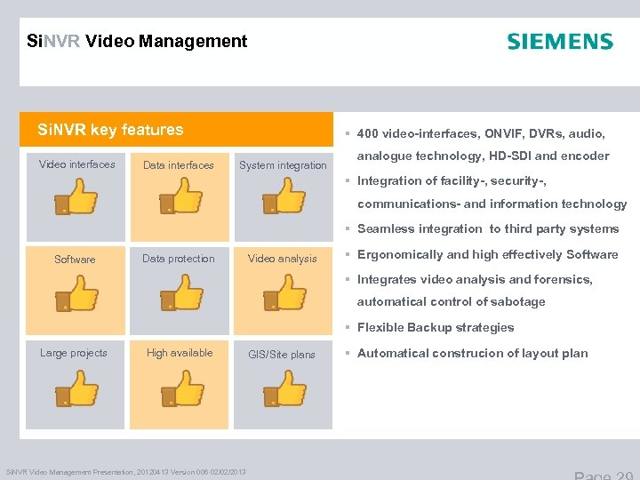 Si. NVR Video Management Si. NVR key features Video interfaces Data interfaces § 400