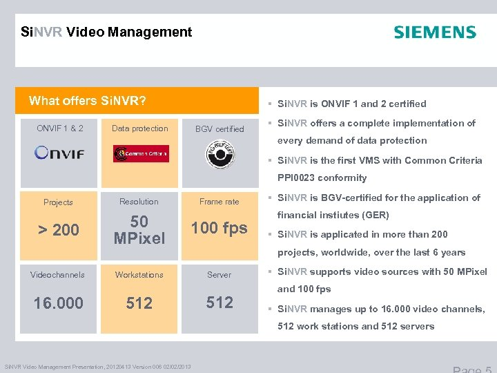 Si. NVR Video Management What offers Si. NVR? ONVIF 1 & 2 § Si.