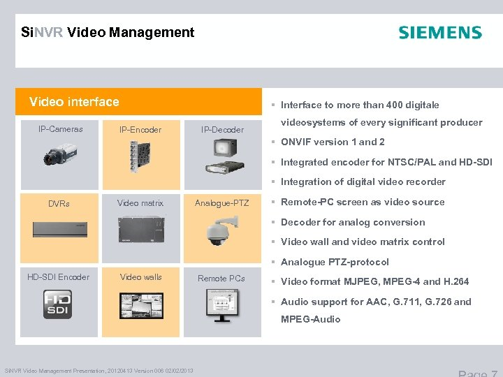 Si. NVR Video Management Video interface IP-Cameras § Interface to more than 400 digitale