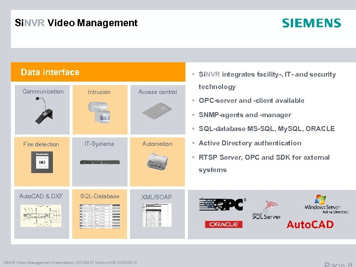 Si. NVR Video Management Data interface Communication § Si. NVR integrates facility-, IT- and