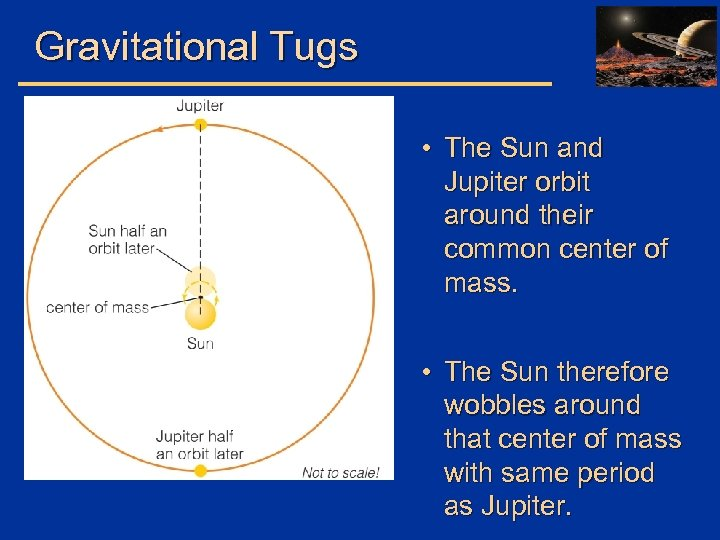 Gravitational Tugs • The Sun and Jupiter orbit around their common center of mass.