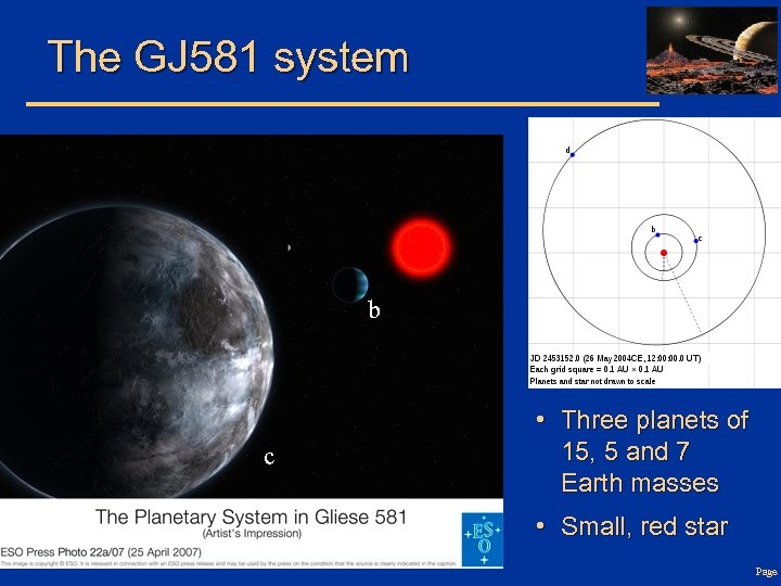 The GJ 581 system b c • Three planets of 15, 5 and 7