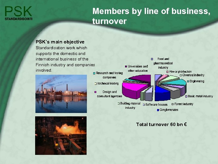 Members by line of business, turnover PSK's main objective Standardisation work which supports the
