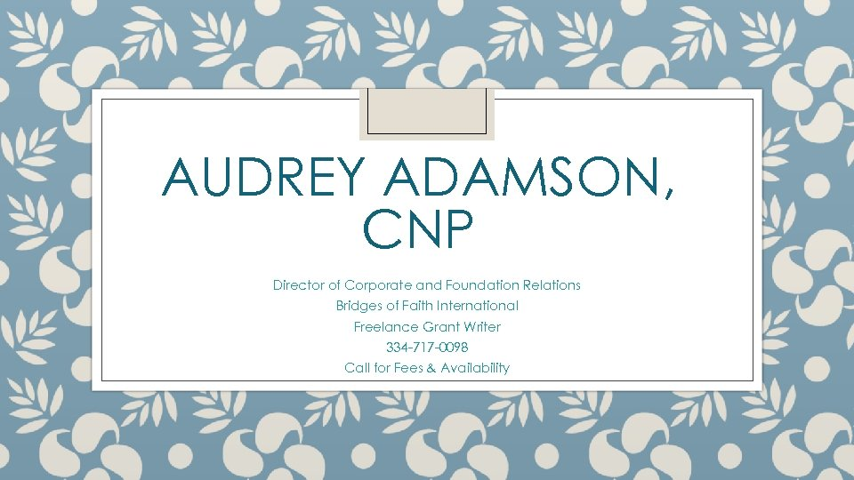 AUDREY ADAMSON, CNP Director of Corporate and Foundation Relations Bridges of Faith International Freelance