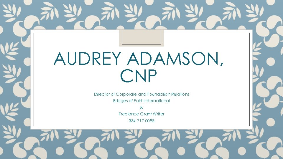 AUDREY ADAMSON, CNP Director of Corporate and Foundation Relations Bridges of Faith International &