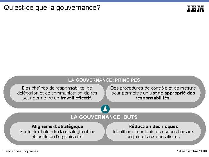 Qu'est-ce que la gouvernance? LA GOUVERNANCE: PRINCIPES Des chaînes de responsabilité, de délégation et