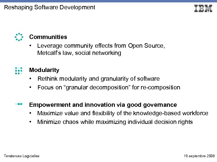 Reshaping Software Development Communities • Leverage community effects from Open Source, Metcalf's law, social