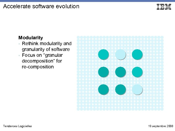Accelerate software evolution Modularity § Rethink modularity and granularity of software § Focus on