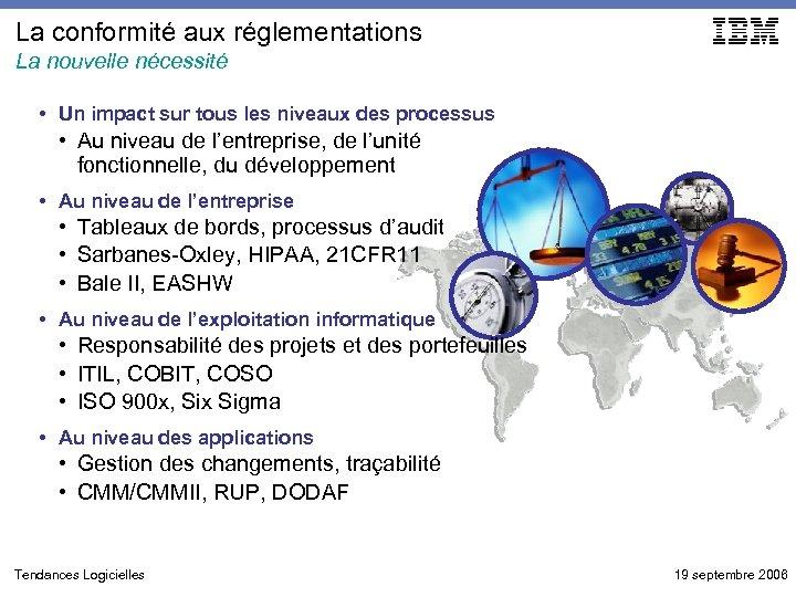 La conformité aux réglementations La nouvelle nécessité • Un impact sur tous les niveaux