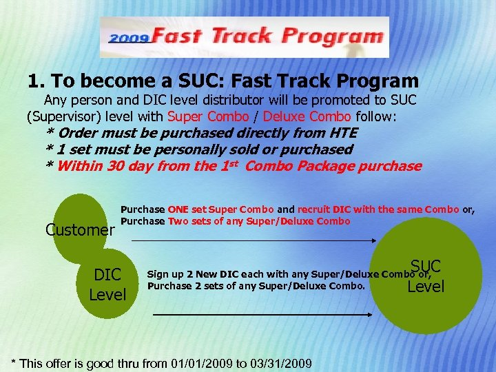 1. To become a SUC: Fast Track Program Any person and DIC level distributor