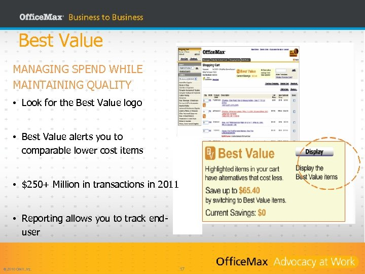 Best Value MANAGING SPEND WHILE MAINTAINING QUALITY • Look for the Best Value logo