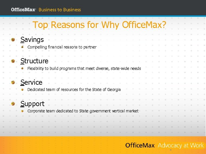 Top Reasons for Why Office. Max? Savings Compelling financial reasons to partner Structure Flexibility