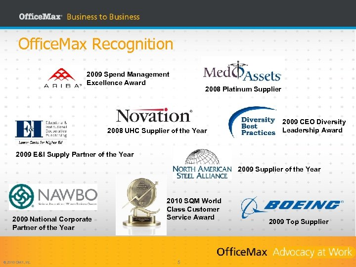 Office. Max Recognition 2009 Spend Management Excellence Award 2008 Platinum Supplier 2008 UHC Supplier