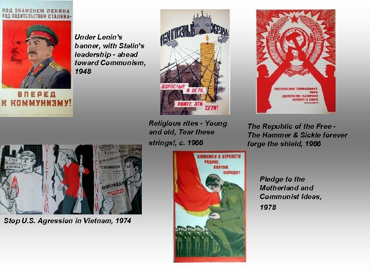 Under Lenin's banner, with Stalin's leadership - ahead toward Communism, 1948 Religious rites -